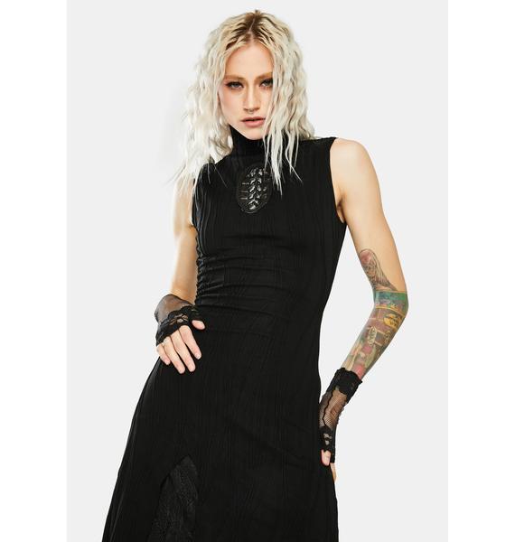 Punk Rave Darkness Magic Irregular Knit Dress