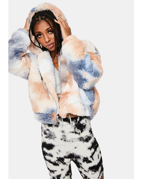 Simple Things Tie Dye Sherpa Jacket