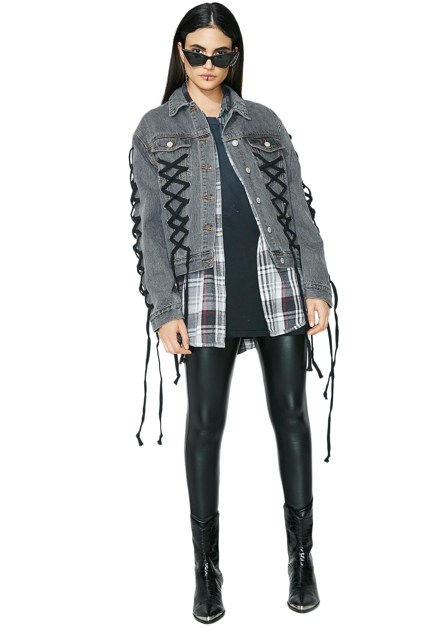 Glamorous Lace Me Up Denim Jacket