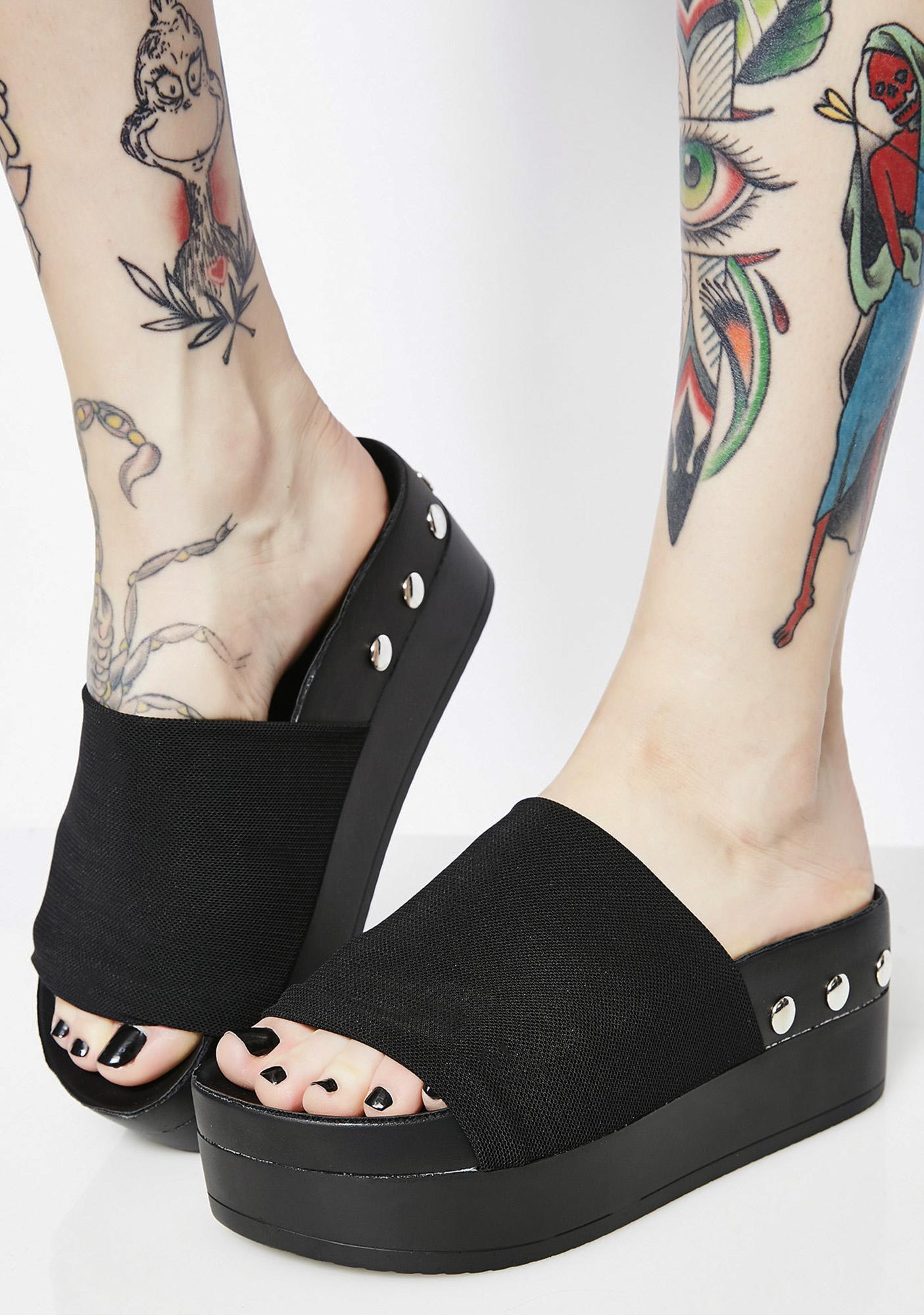 1ce6d39f512 Studded Sole Black Platform Slides