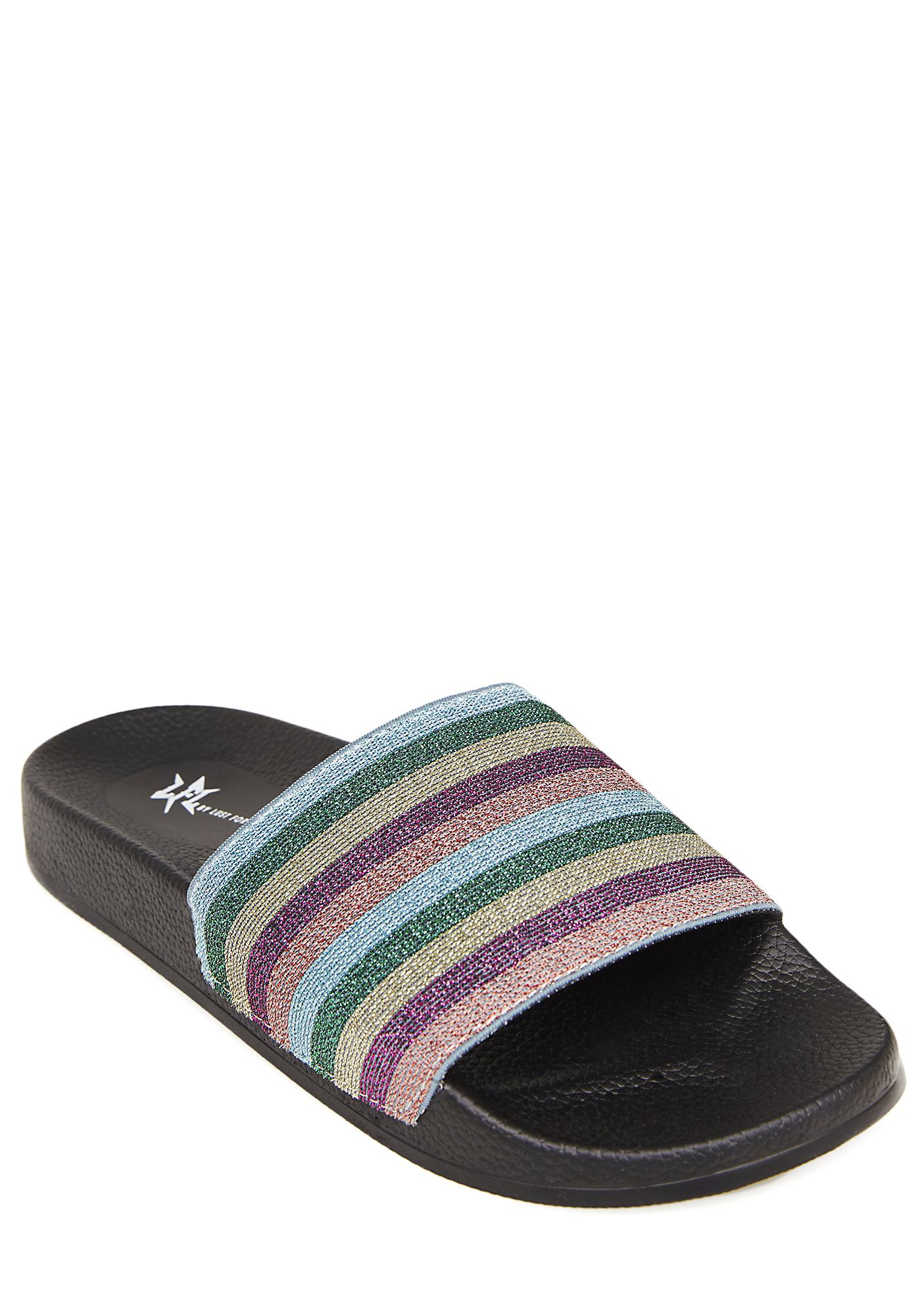 Lust For Life Shimmer Striped Slides