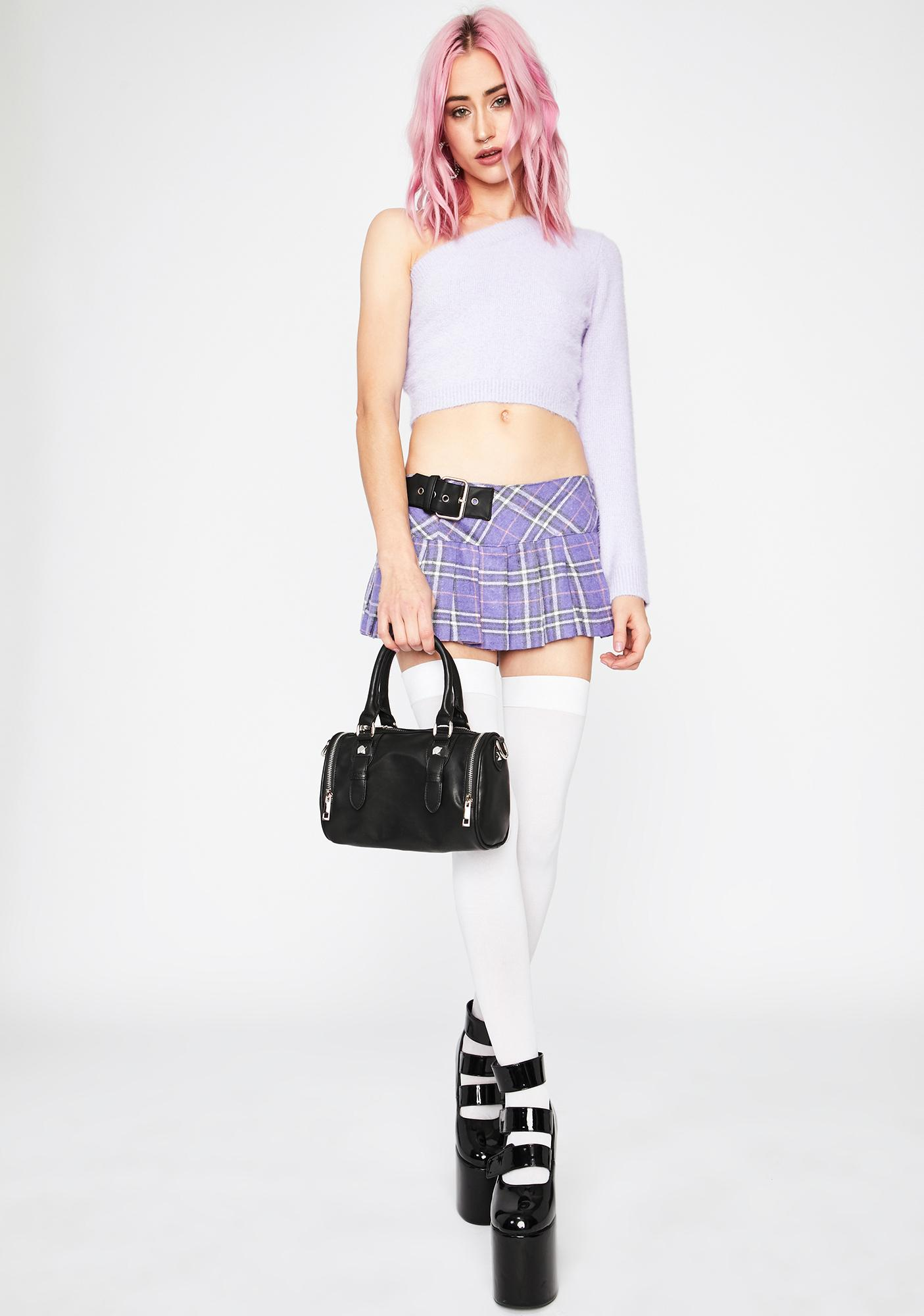 Grape Happily Confused One Shoulder Sweater