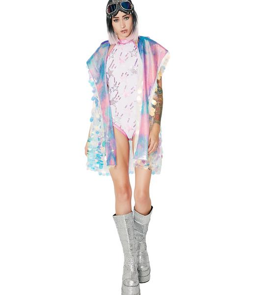Rolita Rave Couture Unicorn Tears Holographic Hooded Vest