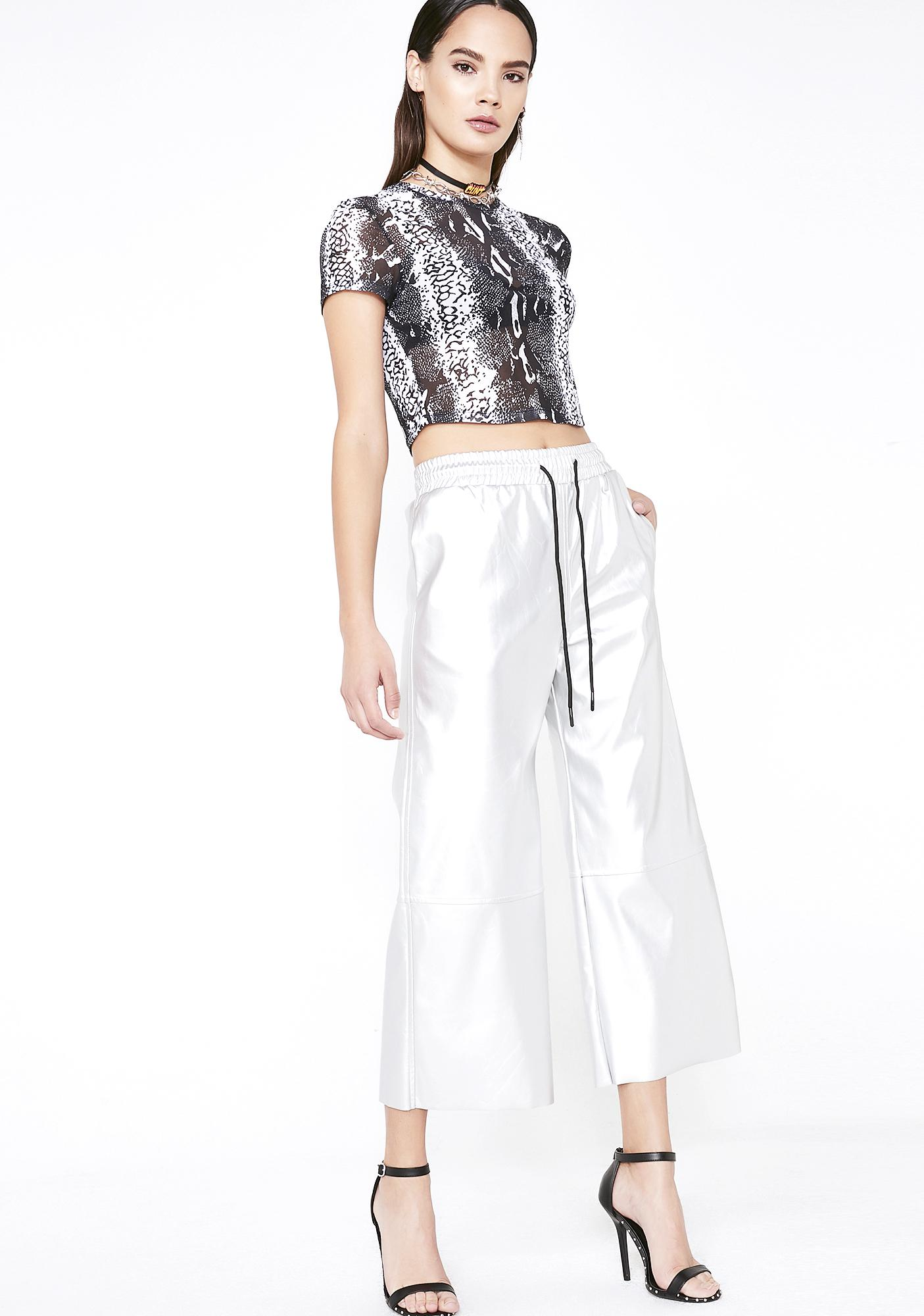 Chrome Material Addiction Cropped Pants
