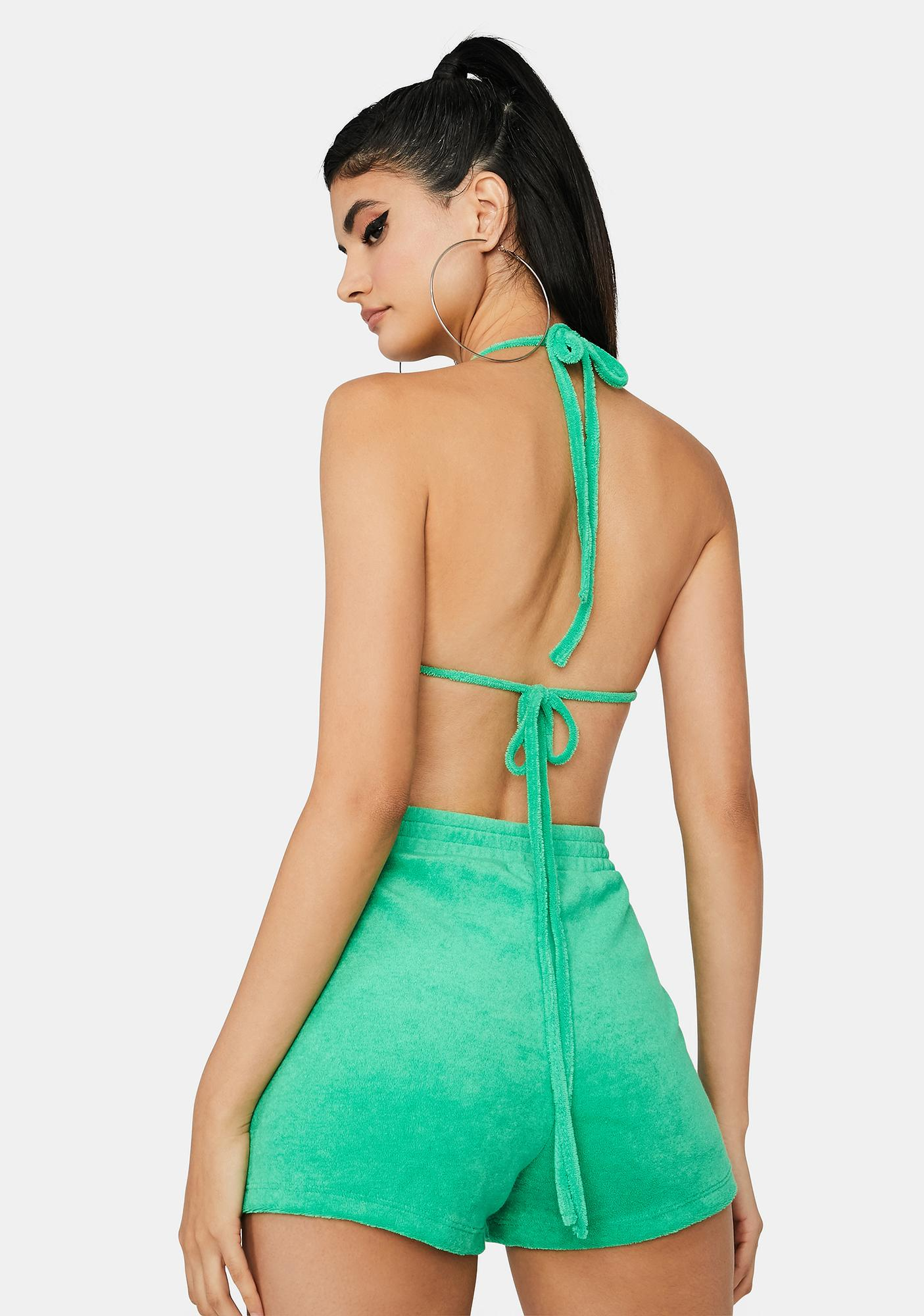Lime Poolside Heiress Terry Shorts Set