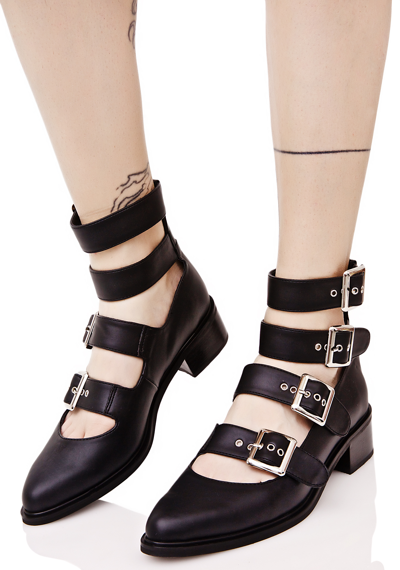 Current Mood Black Multi Buckle Pointed Flats