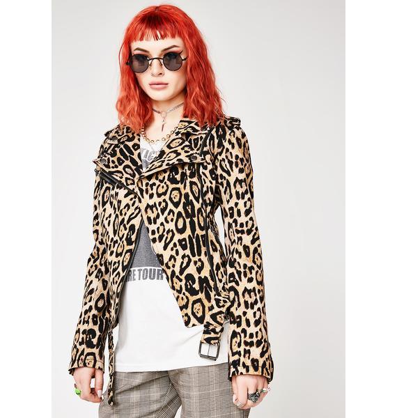 Tripp NYC Leopard Moto Jacket