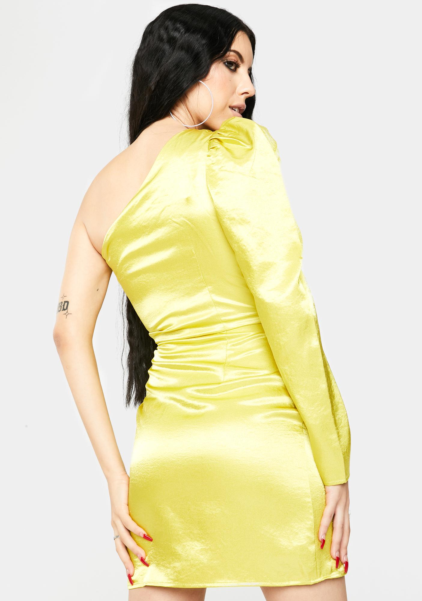 Glamorous Lime Yellow One Shoulder Satin Dress