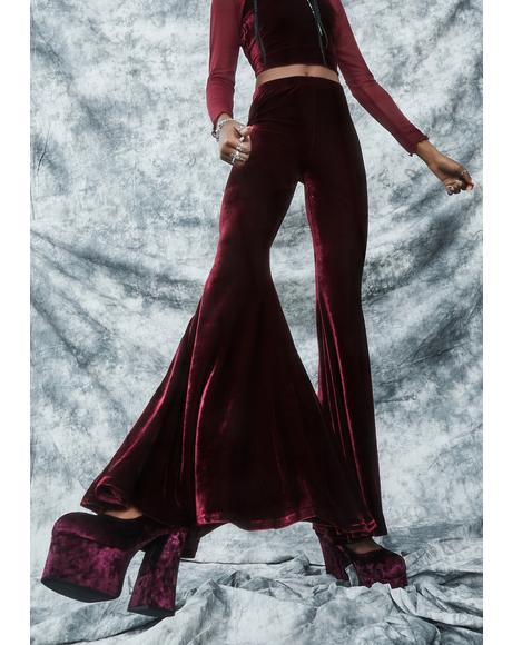 Swish And Flick Velvet Flare Pants
