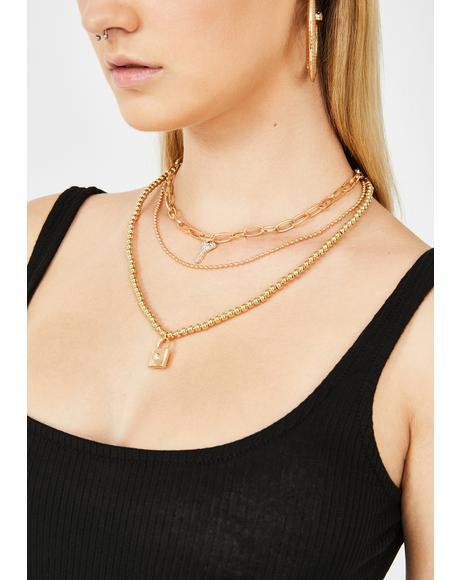 Unlock My Love Layered Necklace