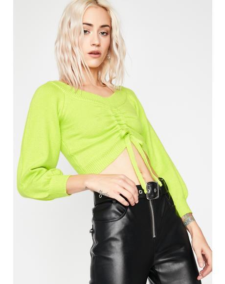 Neon Honest Love Crop Sweater