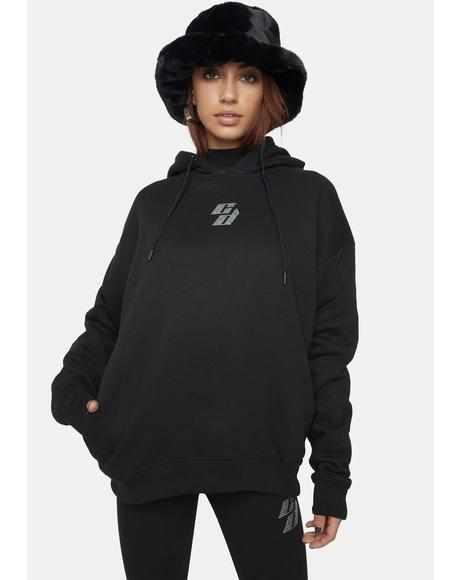 Black Hoodie With Rhinestone Embellishment
