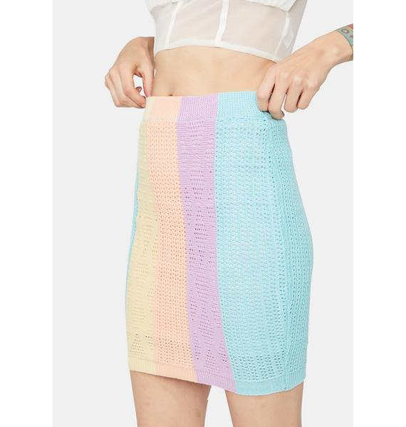 Open Minded Colorblock Knit Skirt
