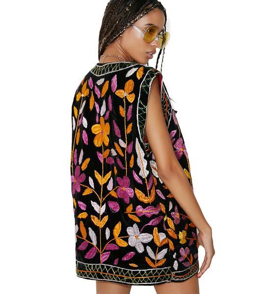 Vintage Embroidered Velvet Vest