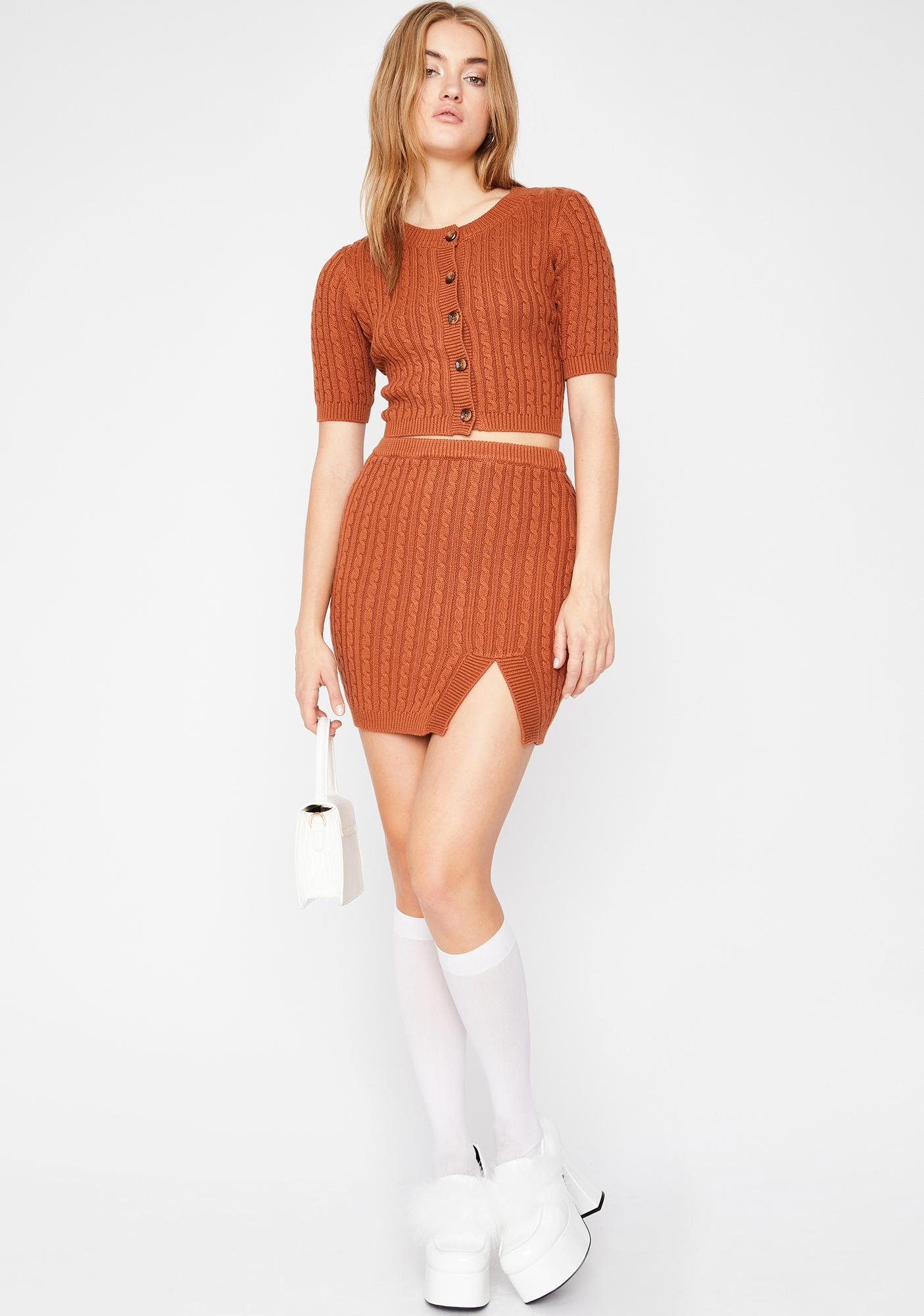 Hawt Cocoa Ribbed Skirt
