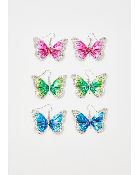 Magical Love Butterfly Earrings Set