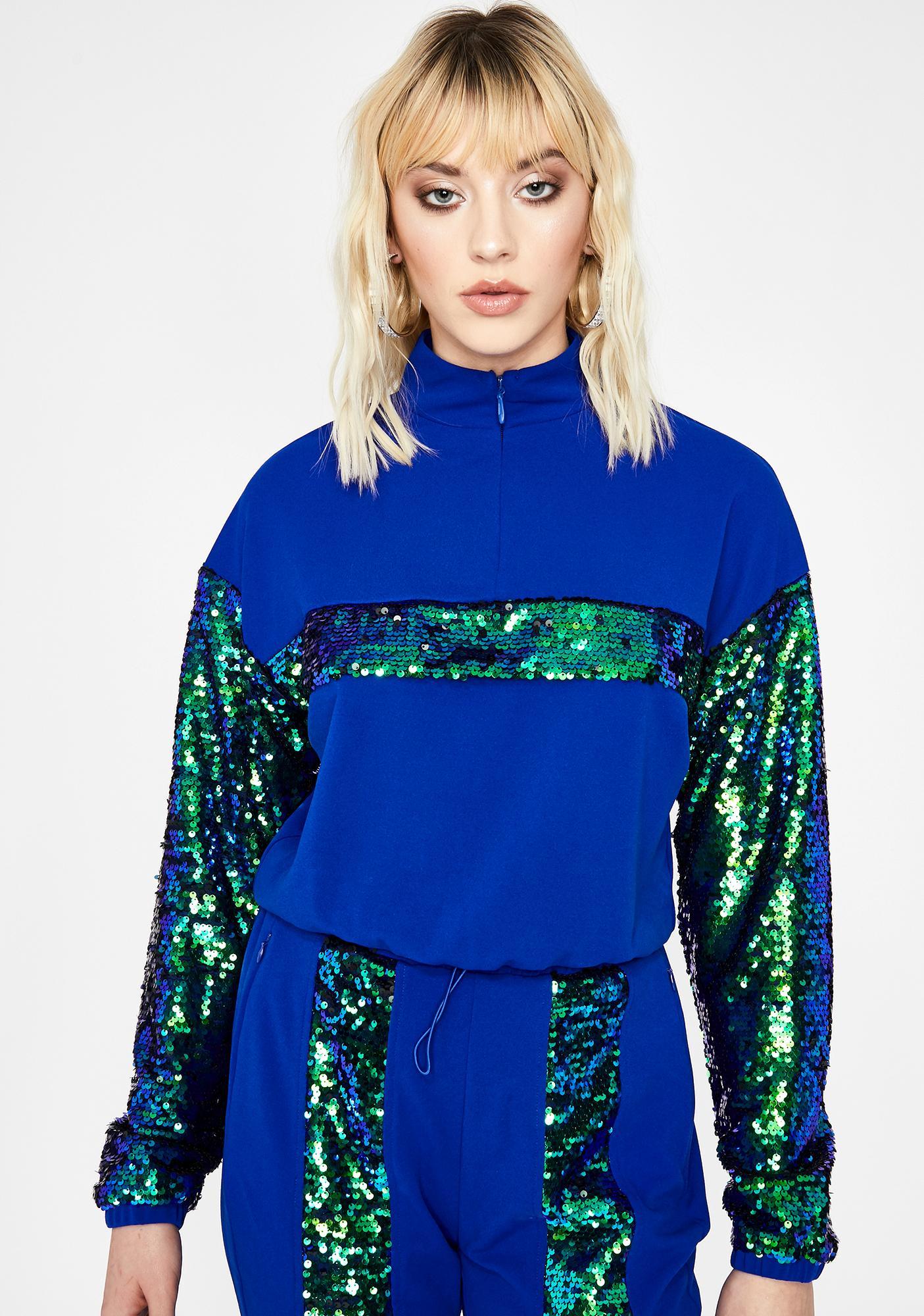 Royal Doin' The Most Sequin Sweatshirt
