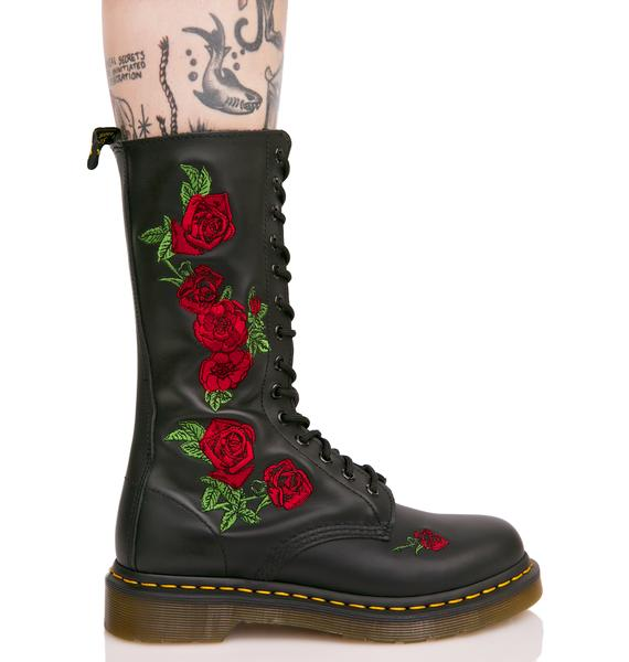 Dr. Martens Vonda Embroidered 14 Eye Boots