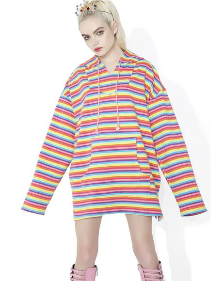 Rainbow Crash Striped Hoodie