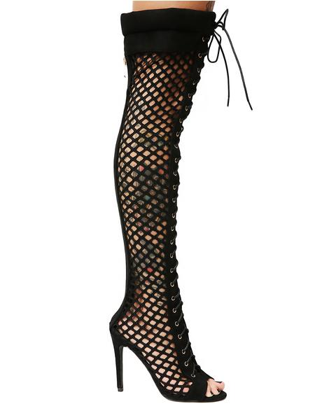 Killin' The Game Fishnet Thigh High Boots