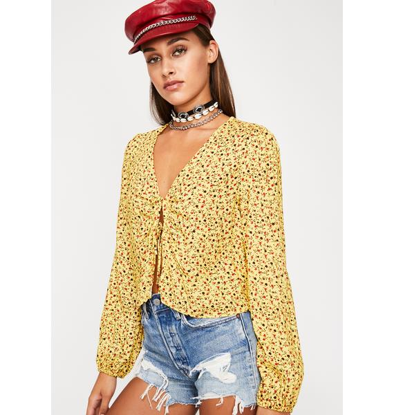 Rosey Sunshine Floral Blouse