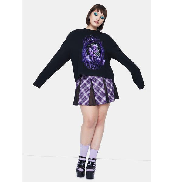 HOROSCOPEZ Miss Fairy Fanatic Screen Print Long Sleeve Oversized Tee