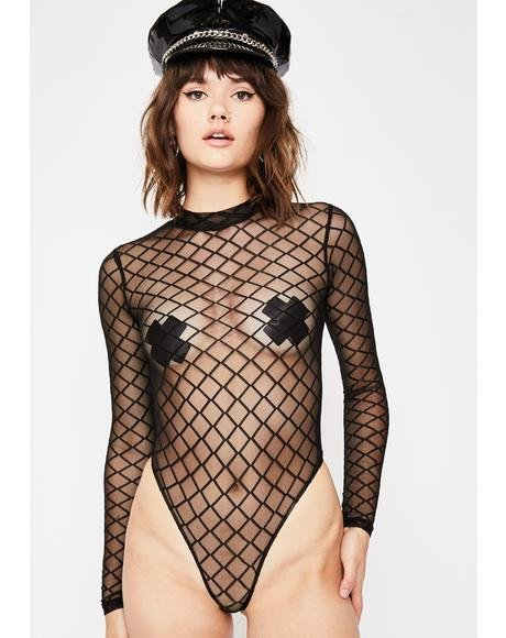 Puzzled High Mesh Bodysuit