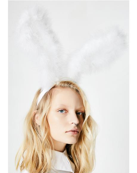 Hop Around Fluffy Bunny Ears Headband