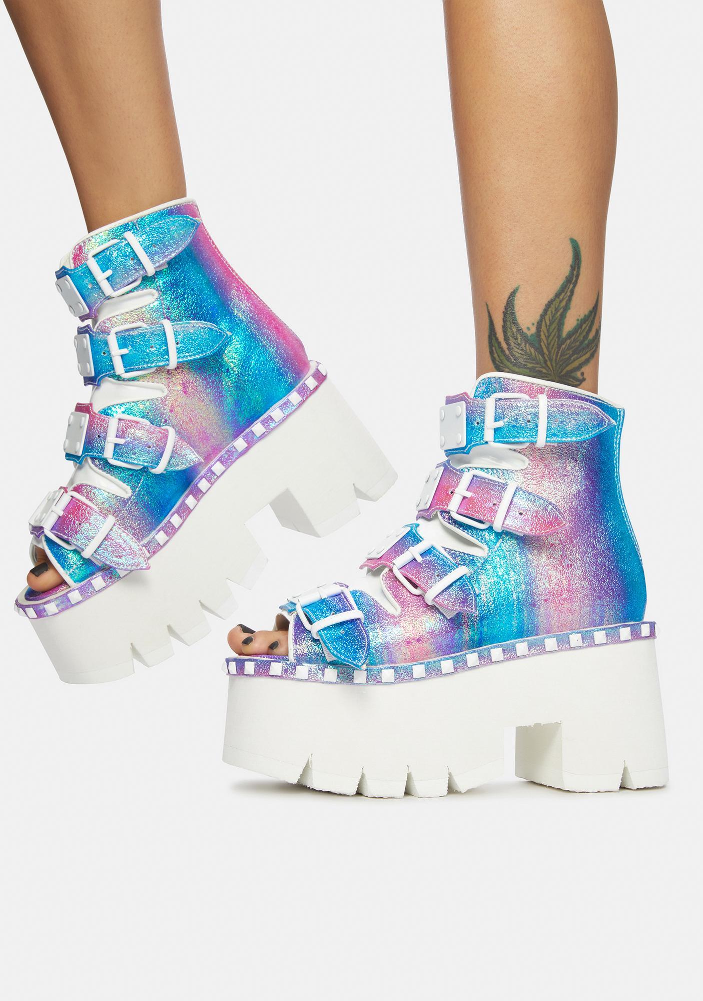 Demonia Iridescent Purple Ashes Platform Bootie Sandals