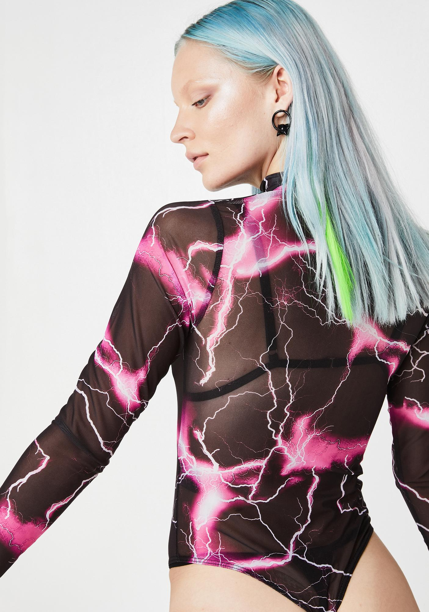 Jaded London Lightning Print Mesh Bodysuit
