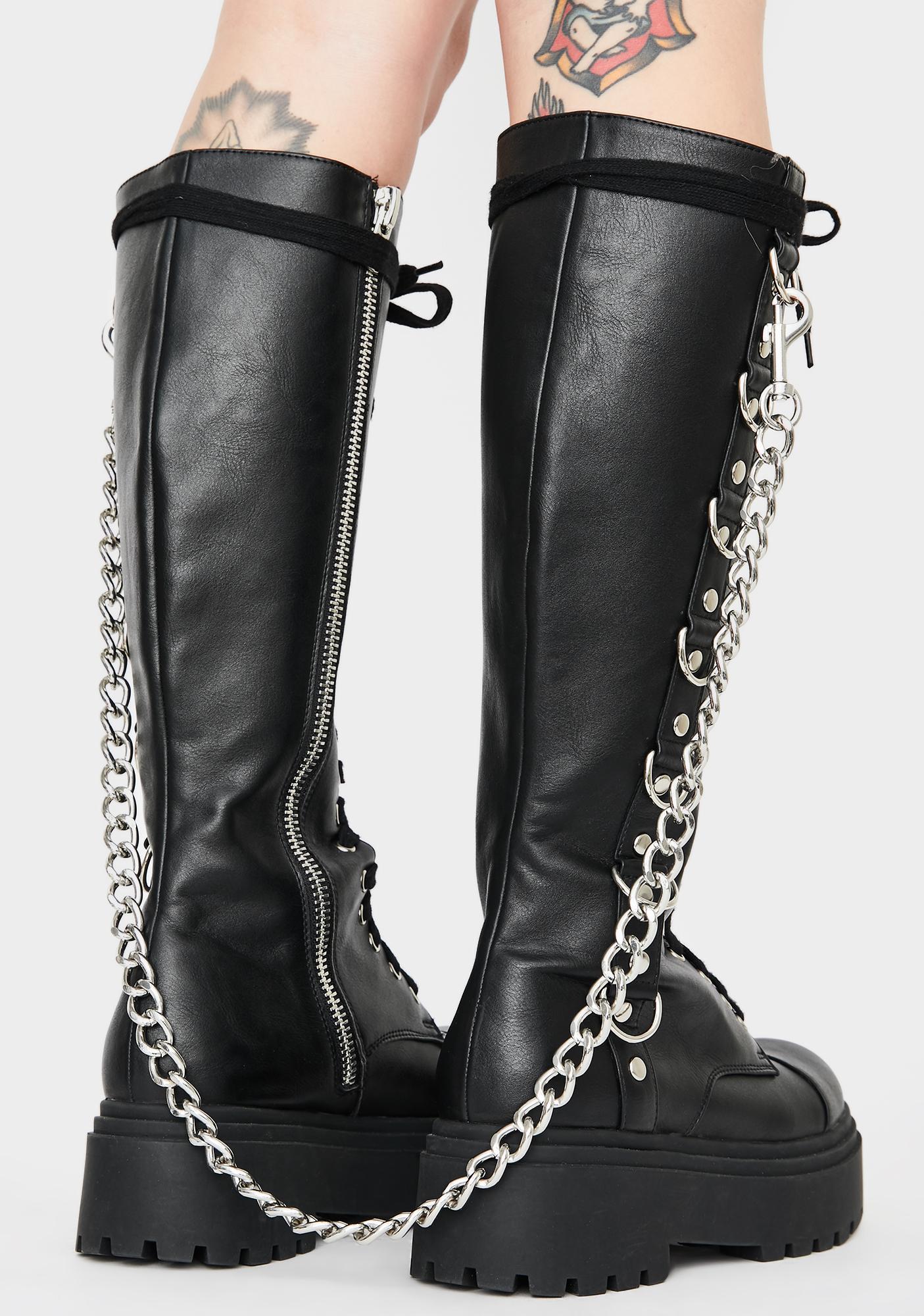 Widow Fright Night Knee High Boots
