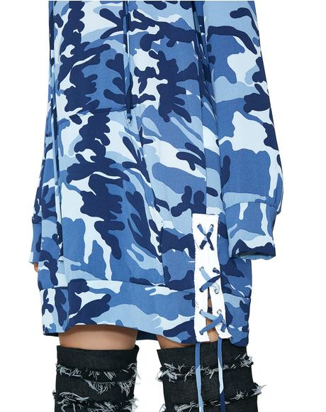 Blueberry Hide Behind Me Hoodie Dress
