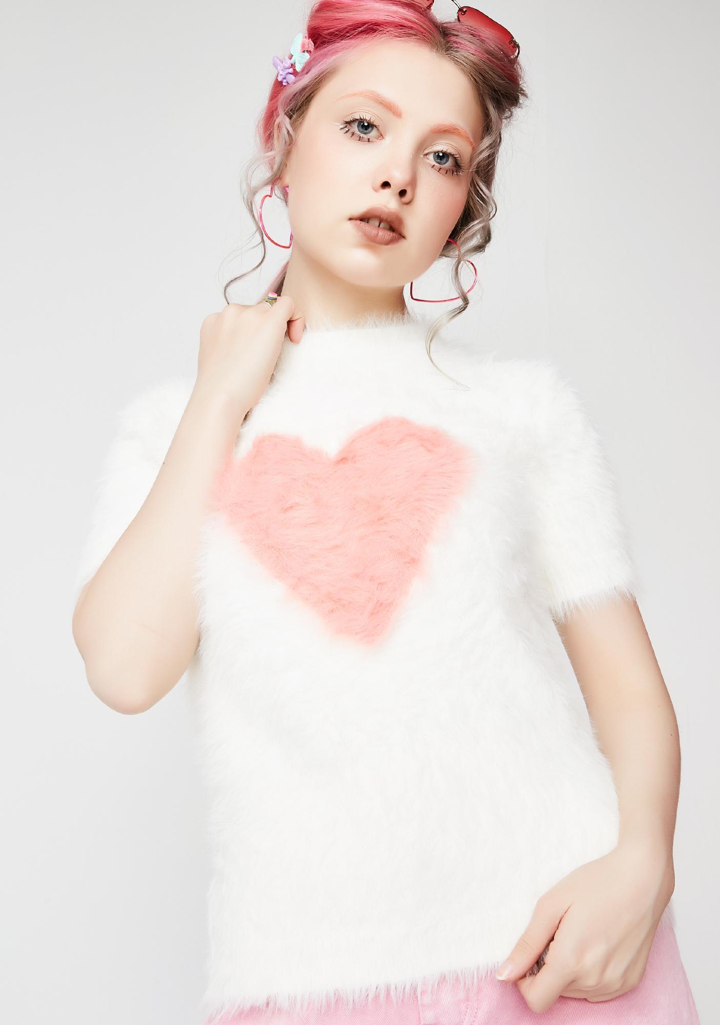04c9b3a9d Lazy Oaf Fluffy Heart Knit Top | Dolls Kill