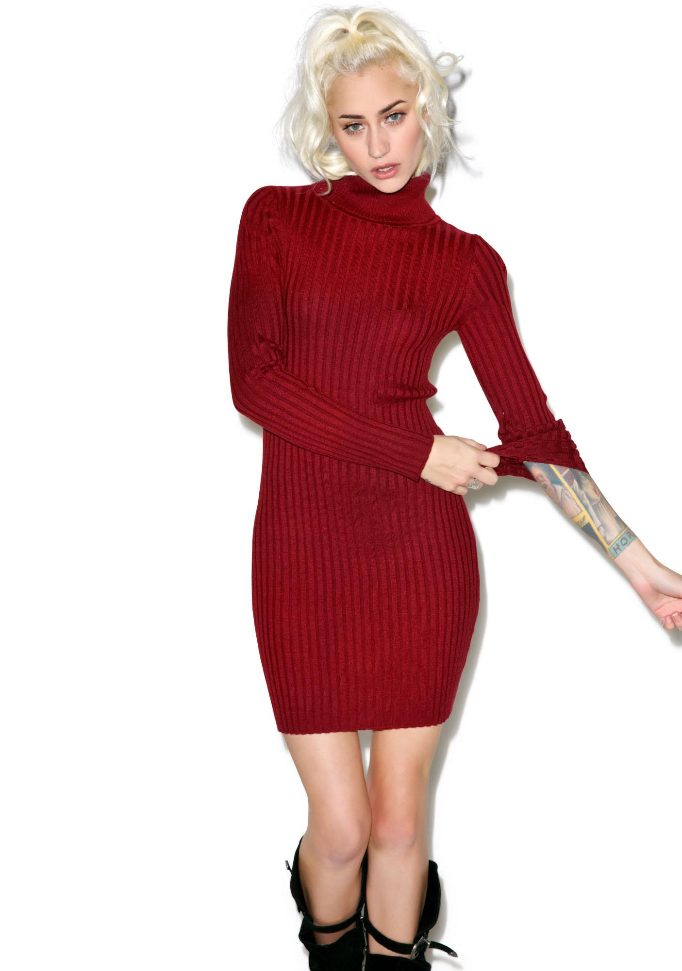 For Love & Lemons Everyday Knit Turtleneck Dress