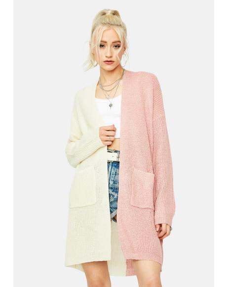 Peach Kept It Cute Two-Tone Cardigan