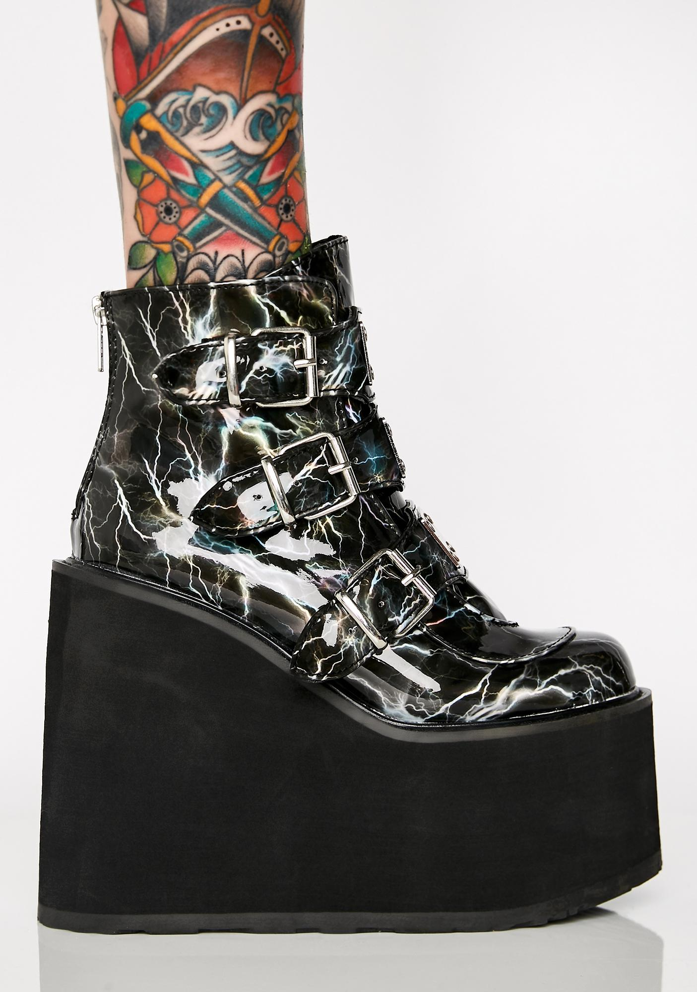 Demonia Shook Hologram Low Trinity Boots