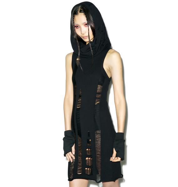 Widow Propaganda Sleeveless Hooded Dress
