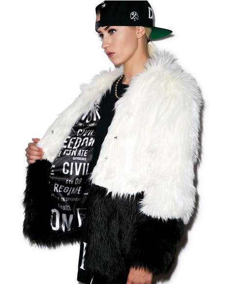 Sharon Two Tone Faux Fur Coat