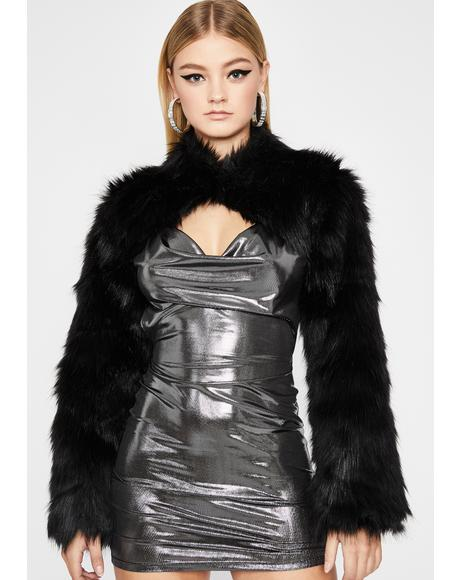 Boss Babe Faux Fur Shrug