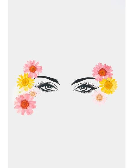 Yellow Pink Flowers Face Stickers