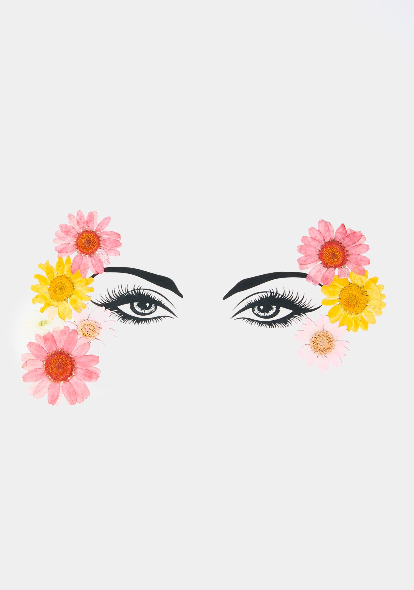 Neva Nude Yellow Pink Flowers Face Stickers