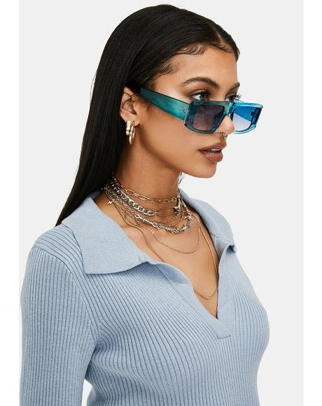 Aqua Paparazzi Posse Oversized Rectangle Sunglasses