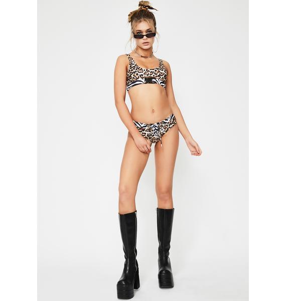 Jaded London Leopard Lace-Up Bikini Bottoms