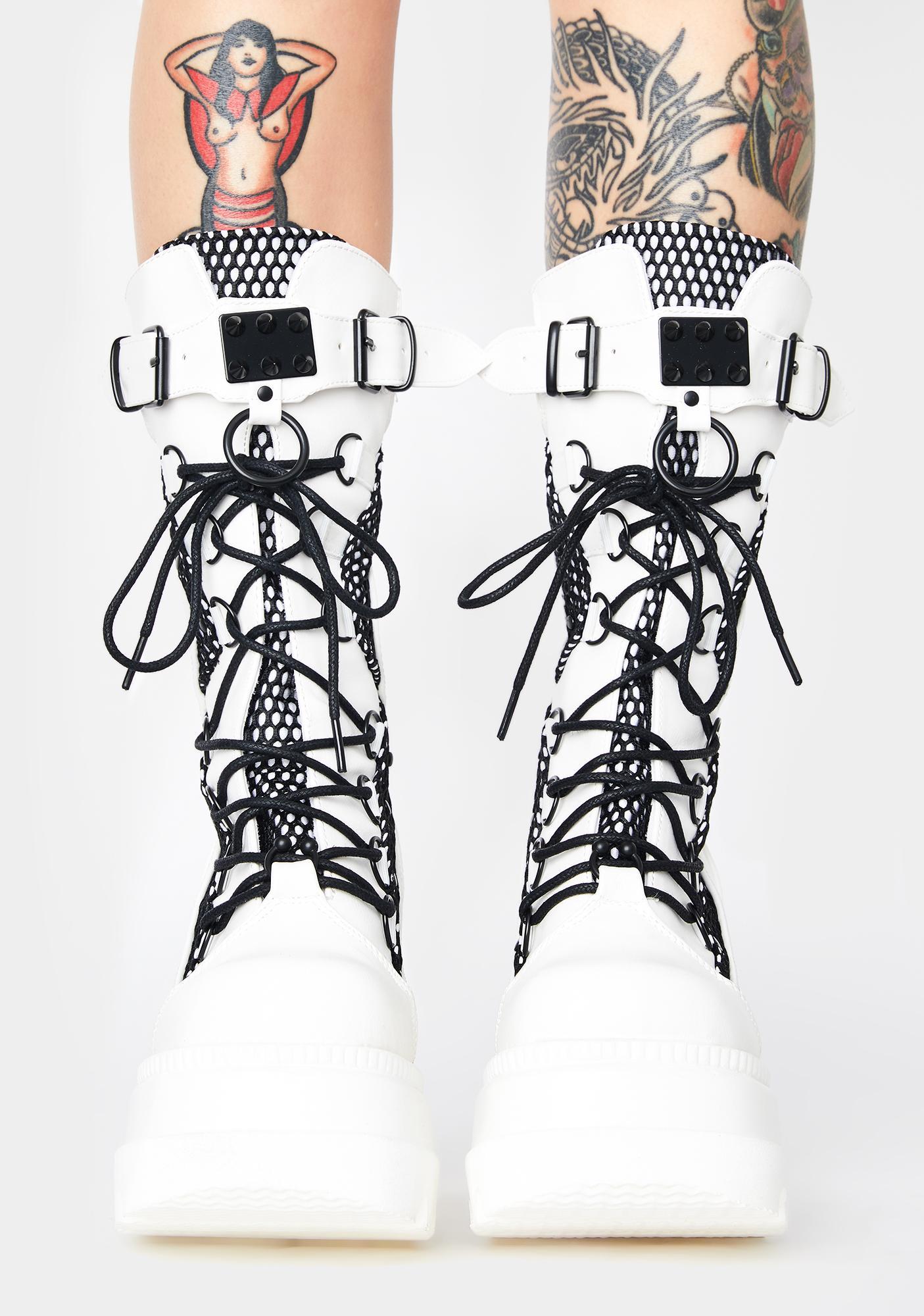 Demonia White High Rise Shaker Boots