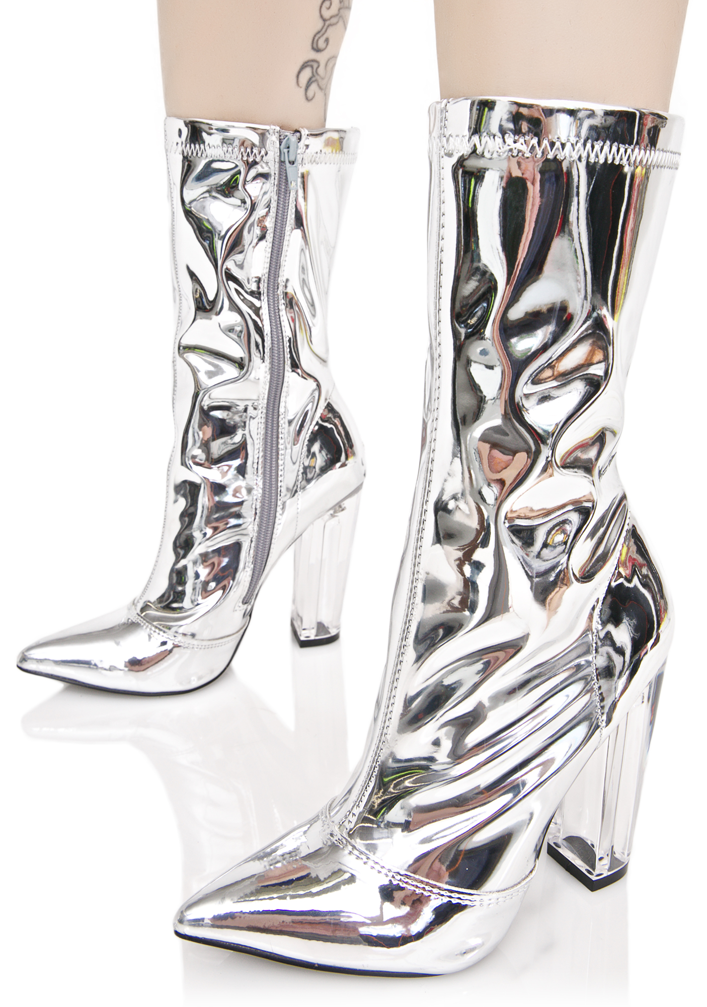 Silver Metallic Ankle Boots