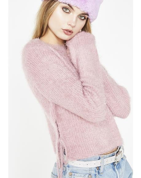 Blush My Go To Fuzzy Sweater