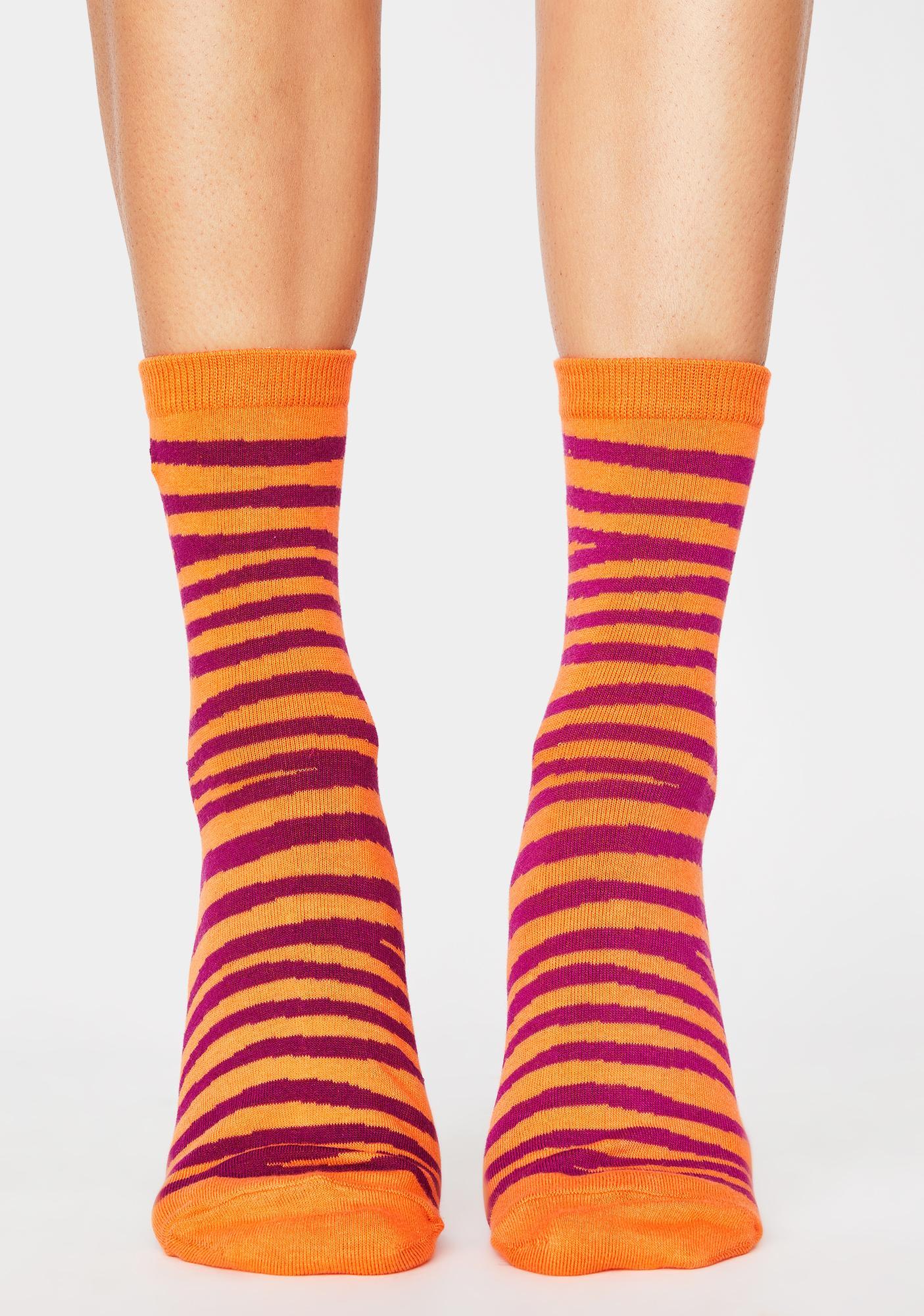 Obey Twinning Zebra Crew Socks 2 Pack
