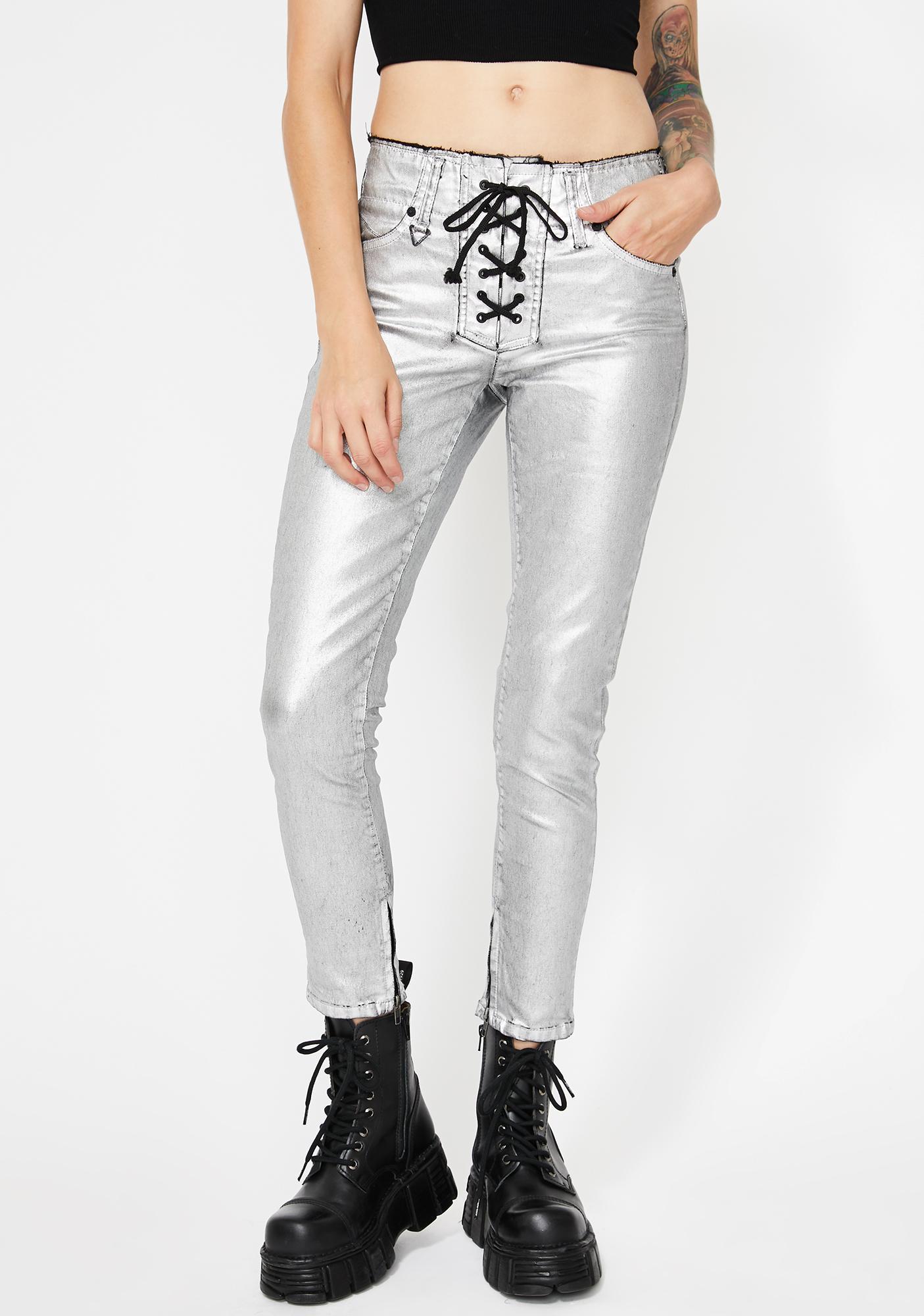 Neon Blonde Blondie Lace Up Pants