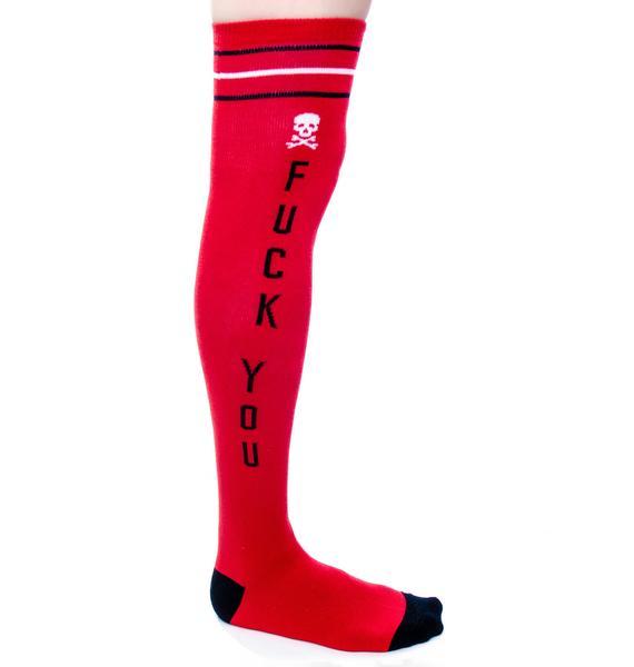 Sourpuss Clothing F You Knee Socks
