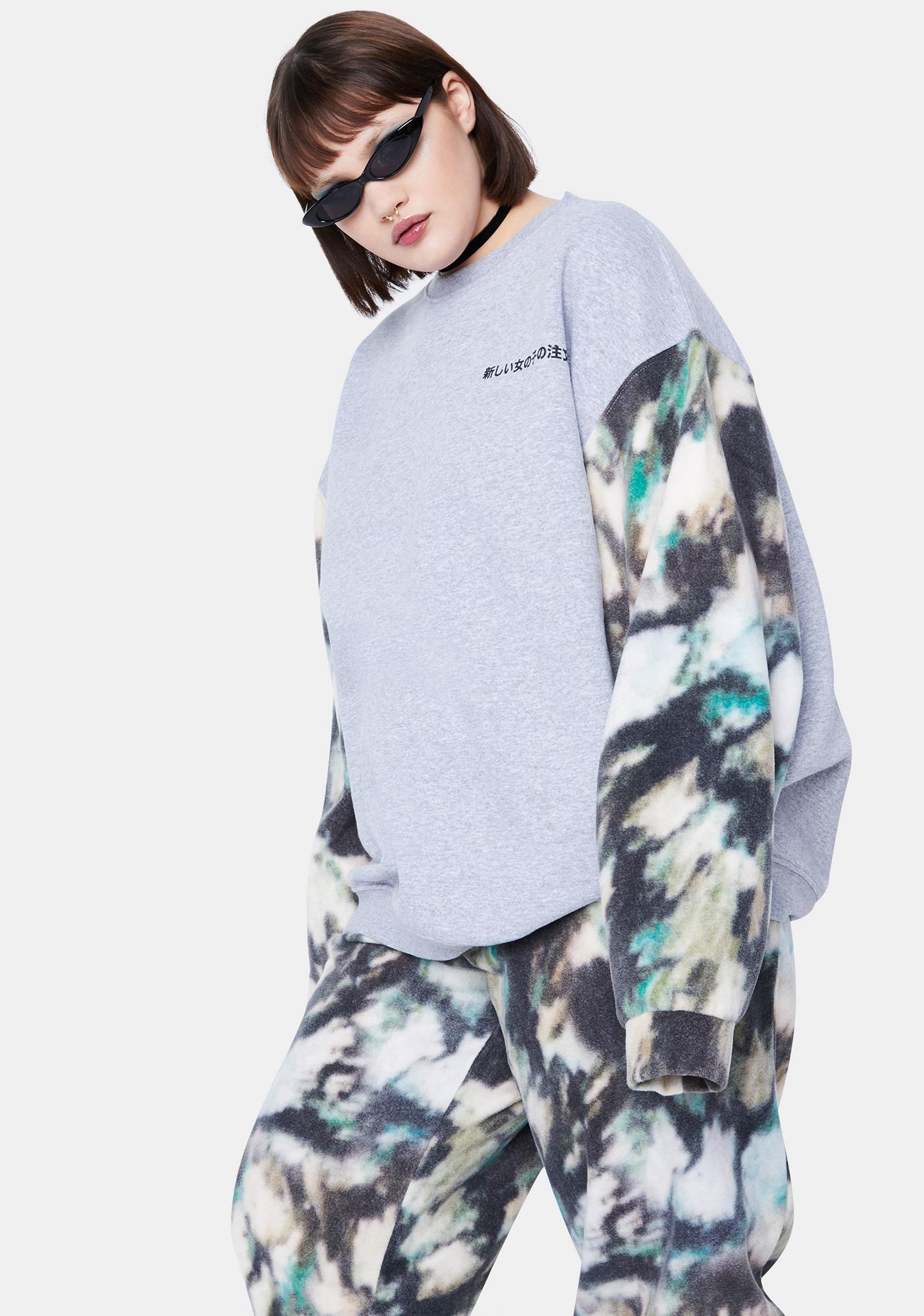 NEW GIRL ORDER Curve Mottled Color Block Fleece Crewneck